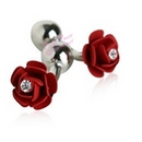 crystal decorated red rose cufflinks