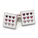 square enamel cufflinks with multiple hearts