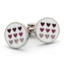round enamel cufflinks with multiple hearts