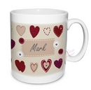 fabric heart design mug