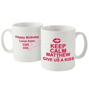 keep calm give us a kiss mug