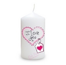 heart stitch - I love you candle