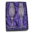 crystal pair of champagne flutes