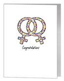 rainbow confetti female symbols card