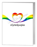 civil partnership acceptance rainbow heart ribbon card