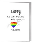 civil partnership with regret - sorry we'd have loved to come card