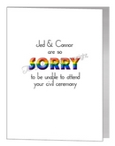 civil partnership with regret - sorry we can't attend card