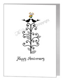anniversary card - lovebirds in tree