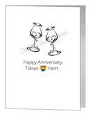 anniversary card - heart wine glasses