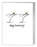 anniversary card - martini glasses with olive