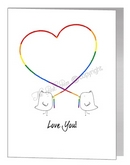 lovebirds with string heart card