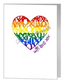 rainbow xox loveheart card