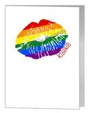 rainbow lips & kisses card