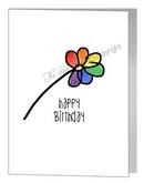 happy birthday single rainbow flower card