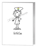 female nurse get well soon card