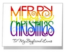 rainbow merry christmas wording card
