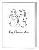 lesbian penguins giving heart card