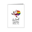 santa with rainbow pride sack card