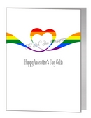 valentine card - rainbow ribbon heart