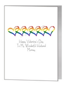 valentine card - interlinked rainbow hearts
