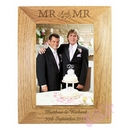 wooden mr & mr photo frame
