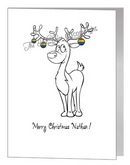 rainbow reindeer with baubles - pride xmas