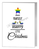 rainbow merry little christmas wording tree - pride xmas