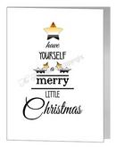 merry little christmas wording tree - bear xmas