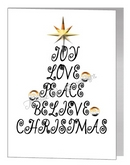 joy love christmas wording tree - bear xmas