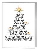 joy love christmas wording tree - bear xmas