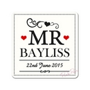 Personalised Mr & Mr Coaster Set of 2