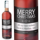 Personalised Merry Christmas Rose Wine