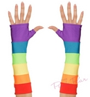 rainbow satin fingerless gloves