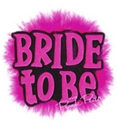 bride to be fluffy brooch (black & pink)