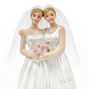 brides with veils cake topper