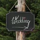 hanging chalkboard sign with chalks