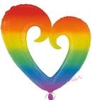 rainbow open heart supershape foil balloon