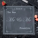 personalised family chalk glass chopping board