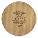 personalised full of love large round chopping board