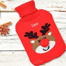personalised reindeer hot water bottle