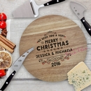 christmas wishes personalised cheeseboard and knife set