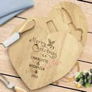 engraved wooden christmas cheeseboard set