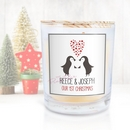 personalised loving penguins scented candle