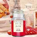 personalised our first christmas apple and cinnamon scented jar candle