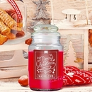 personalised merry christmas apple and cinnamon scented jar candle