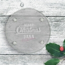 merry christmas engraved round glass coaster