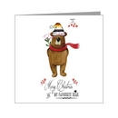 cute grizzly in pride hat with mistletoe - bear xmas