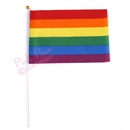 hand held rainbow flag on stick
