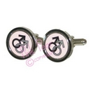 black & silver male symbol cufflinks