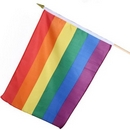 large rainbow flag on wooden stick (12x18